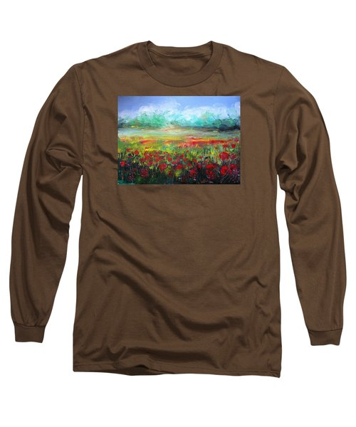 Long Sleeve T-Shirt featuring the painting Poppy Fields by Vesna Martinjak