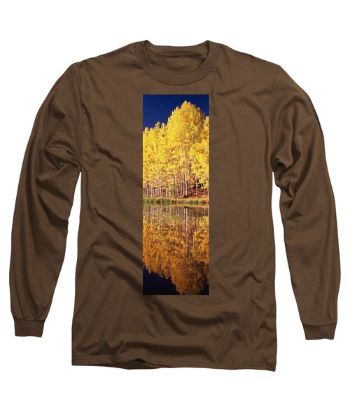 Reflection Of Aspen Trees In A Lake Long Sleeve T-Shirt