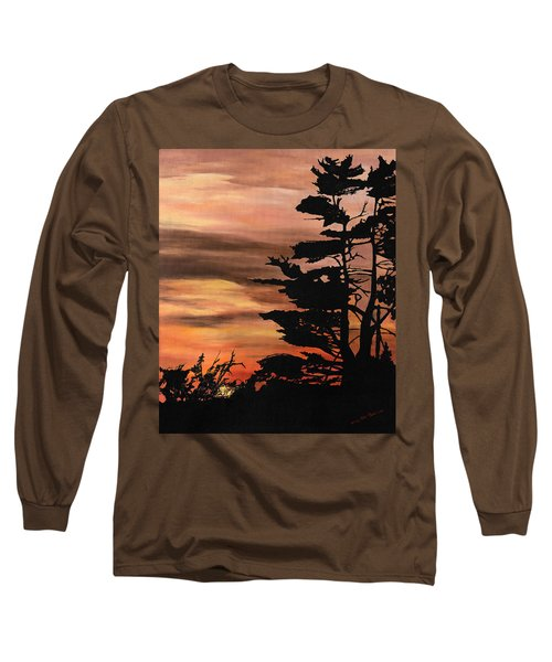 Long Sleeve T-Shirt featuring the painting Silhouette Sunset by Mary Ellen Anderson