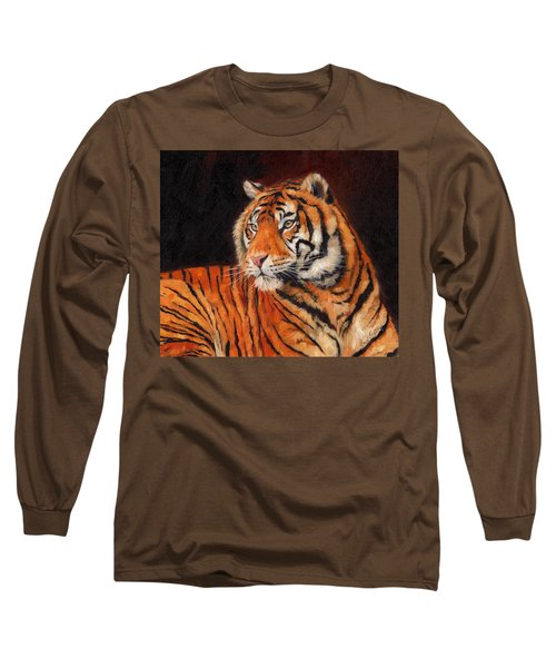 Sumatran Tiger  Long Sleeve T-Shirt by David Stribbling