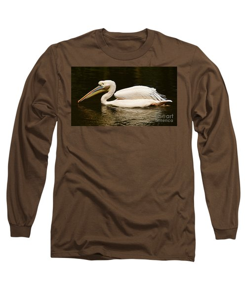 Swimming Pink Pelican Long Sleeve T-Shirt