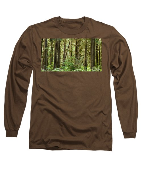 Trees In A Forest, Quinault Rainforest Long Sleeve T-Shirt