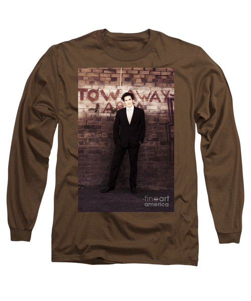 Vintage Salesman Standing In Front Of Brick Wall Long Sleeve T-Shirt