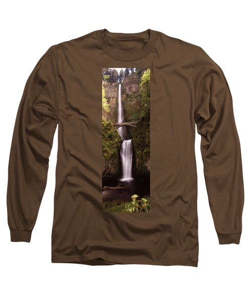 Waterfall In A Forest, Multnomah Falls Long Sleeve T-Shirt