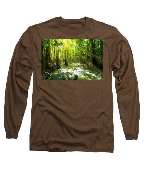 Waterfall In Rainforest Long Sleeve T-Shirt