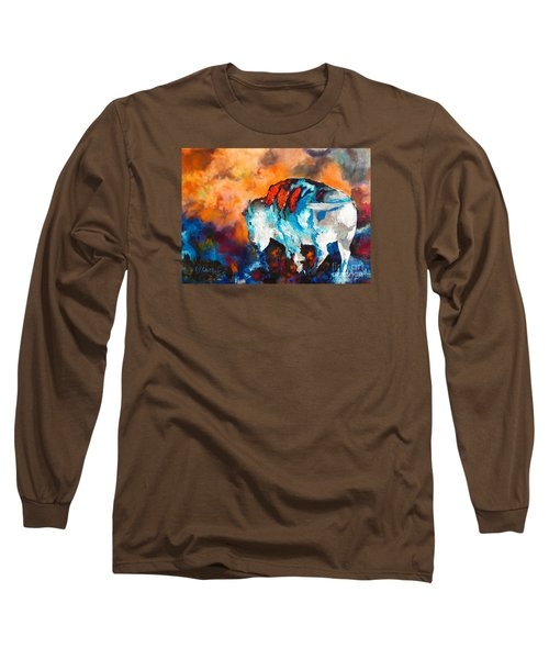White Buffalo Ghost Long Sleeve T-Shirt by Karen Kennedy Chatham