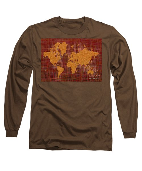 World Map Rettangoli In Orange Red And Brown Long Sleeve T-Shirt by Eleven Corners