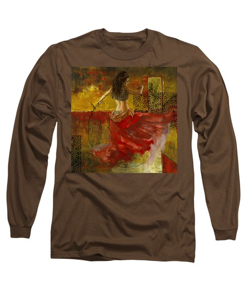Abstract Belly Dancer 6 Long Sleeve T-Shirt by Corporate Art Task Force