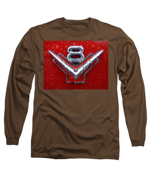 1955 Ford V8 Emblem Long Sleeve T-Shirt by Joseph Skompski