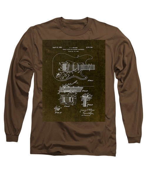 1956 Fender Tremolo Patent Drawing II Long Sleeve T-Shirt by Gary Bodnar