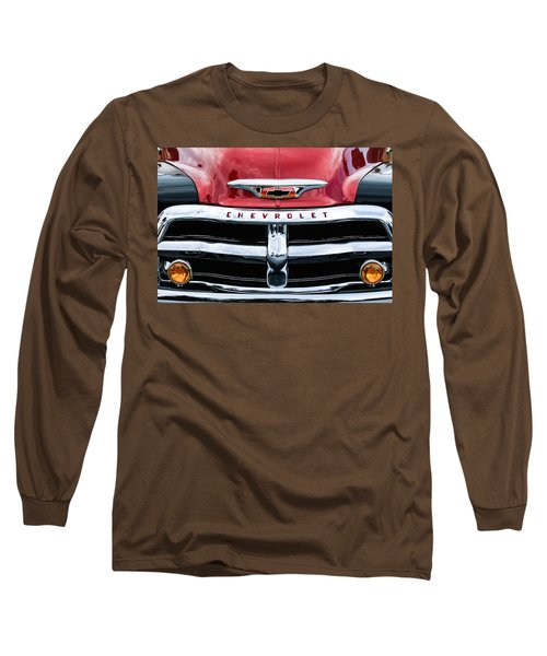 1955 Chevrolet 3100 Pickup Truck Grille Emblem Long Sleeve T-Shirt by Jill Reger