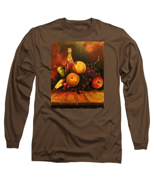 Long Sleeve T-Shirt featuring the painting Fruit And Wine by Al Brown