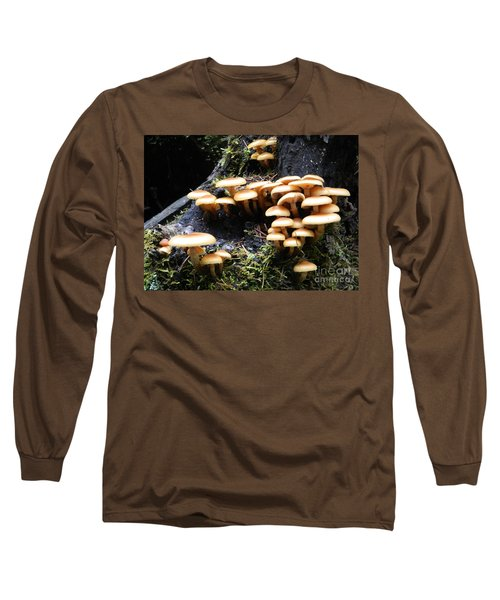 Long Sleeve T-Shirt featuring the photograph Mushrooms On A Stump by Chalet Roome-Rigdon