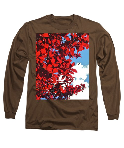 Plum Tree Cloudy Blue Sky 3 Long Sleeve T-Shirt by CML Brown