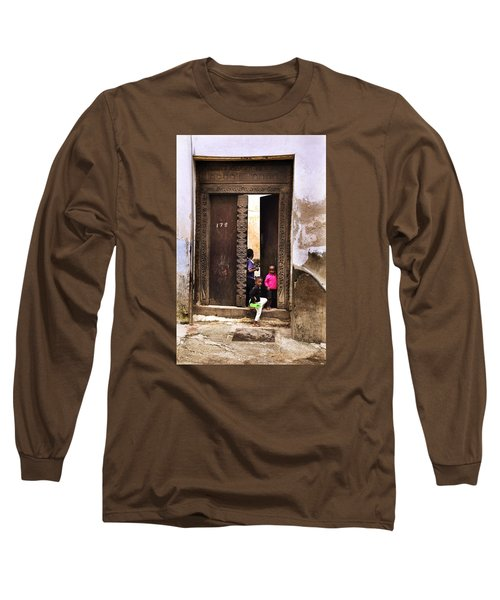Long Sleeve T-Shirt featuring the photograph Kids Playing Zanzibar Unguja Doorway by Amyn Nasser