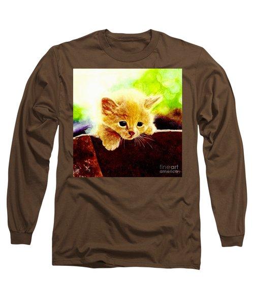 Yellow Kitten Long Sleeve T-Shirt