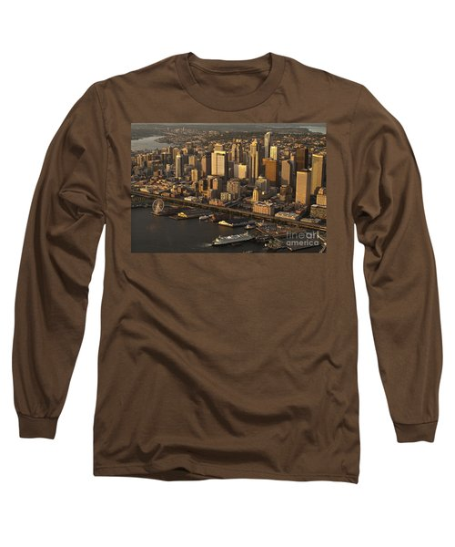 Aerial View Of Seattle Skyline Along Waterfront Long Sleeve T-Shirt