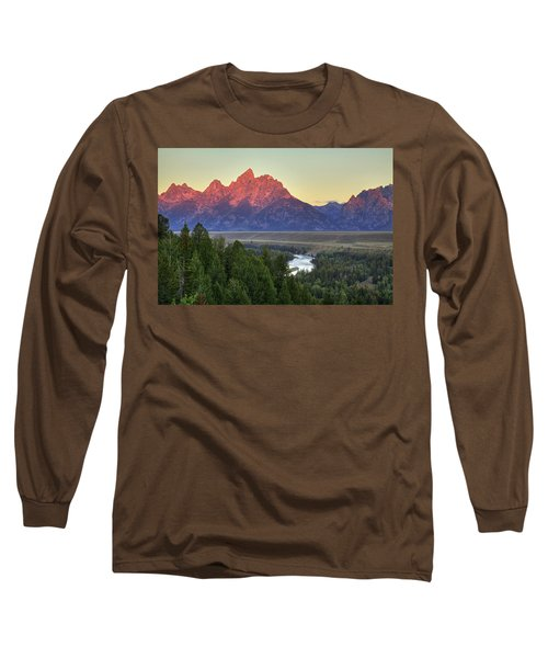 Long Sleeve T-Shirt featuring the photograph Grand Tetons Morning At The Snake River Overview - 2 by Alan Vance Ley