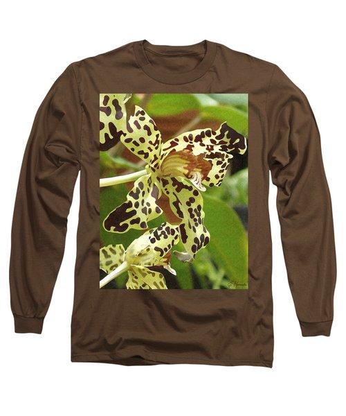 Leopard Orchids Long Sleeve T-Shirt by Ellen Henneke