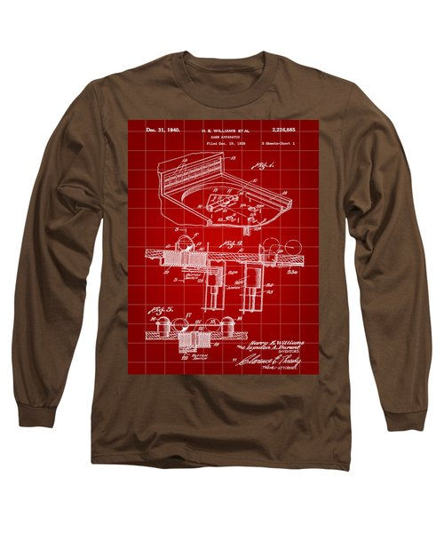 Pinball Machine Patent 1939 - Red Long Sleeve T-Shirt by Stephen Younts
