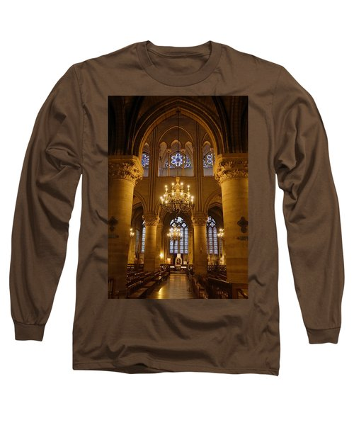 Architectural Artwork Within Notre Dame In Paris France Long Sleeve T-Shirt by Richard Rosenshein