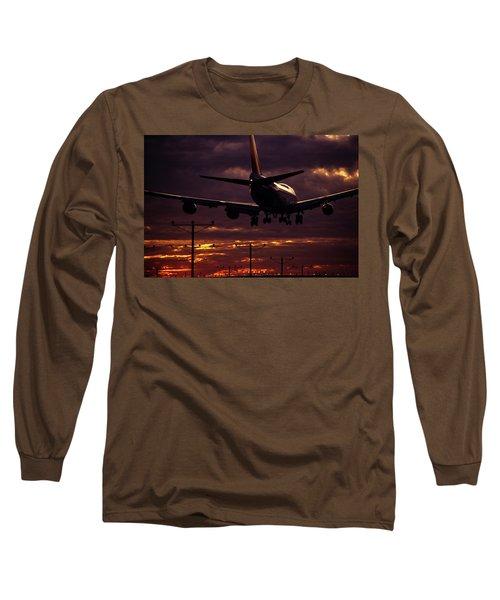 747 Landing At Lax, Los Angeles, Ca Long Sleeve T-Shirt