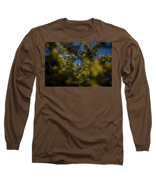 A Bird Perches On A Branch Seen Long Sleeve T-Shirt