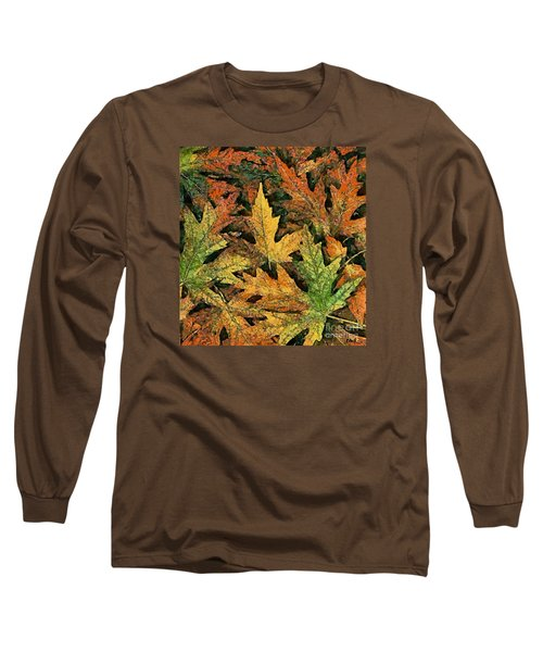 Long Sleeve T-Shirt featuring the painting A Carpet Of  Falling Leaves by Dragica  Micki Fortuna