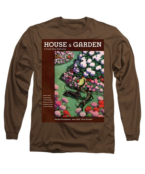 A House And Garden Cover Of Dachshunds With A Hat Long Sleeve T-Shirt