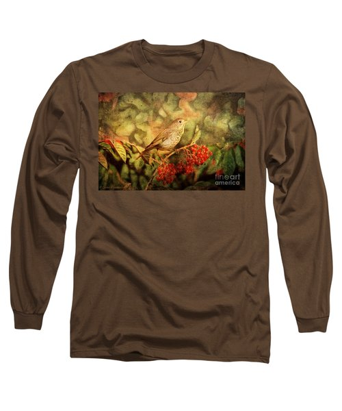 A Little Bird With Plumage Brown Long Sleeve T-Shirt