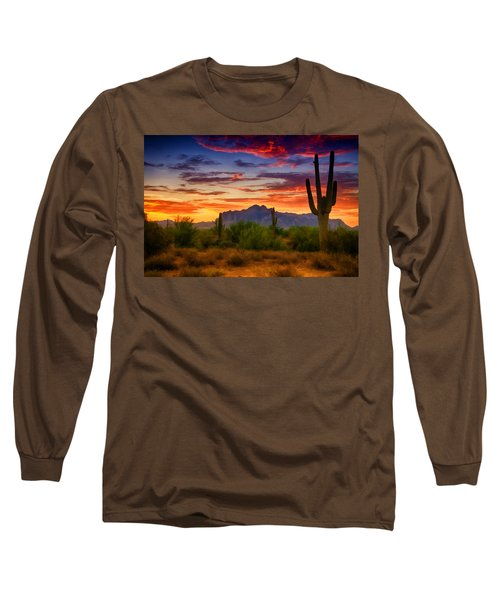 A Painted Desert  Long Sleeve T-Shirt by Saija  Lehtonen