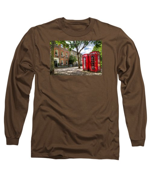 Long Sleeve T-Shirt featuring the photograph A Pair Of Red Phone Booths by Tim Stanley