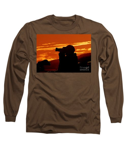 Long Sleeve T-Shirt featuring the photograph A Photographer Enjoying His Work by Kathy Baccari