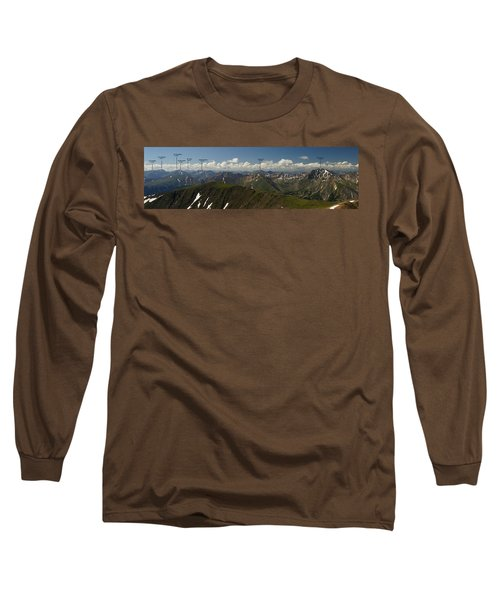 A Summit View Panorama With Peak Labels Long Sleeve T-Shirt