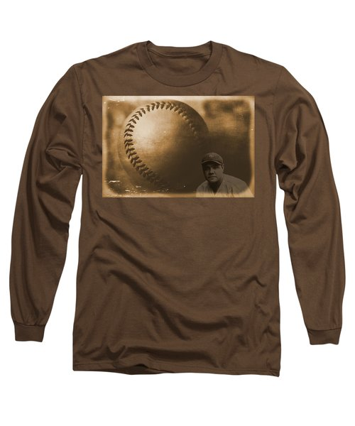 A Tribute To Babe Ruth And Baseball Long Sleeve T-Shirt by Dan Sproul
