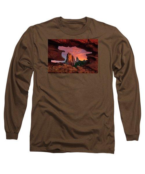 A View Through Window Rock At Siamese Twins Long Sleeve T-Shirt by John Hoffman