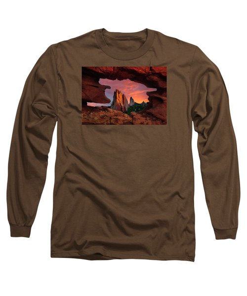A View Through Window Rock At Siamese Twins Long Sleeve T-Shirt