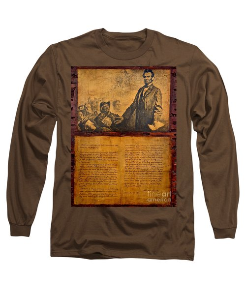 Abraham Lincoln The Gettysburg Address Long Sleeve T-Shirt by Saundra Myles