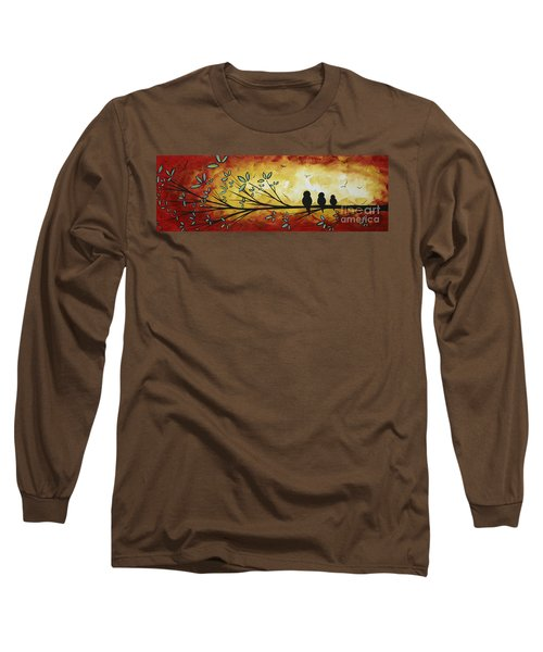 Abstract Bird Landscape Tree Blossoms Original Painting Family Of Three Long Sleeve T-Shirt