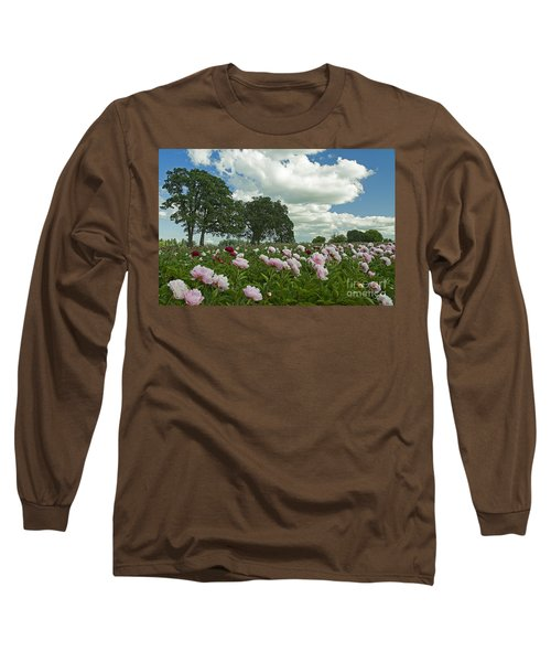 Long Sleeve T-Shirt featuring the photograph Adleman's Peony Fields by Nick  Boren