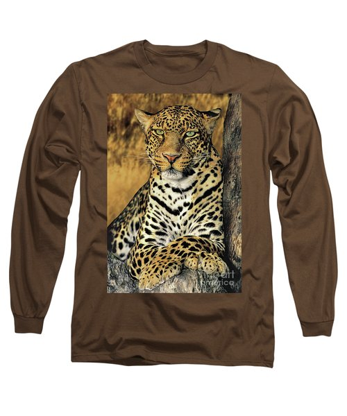 African Leopard Portrait Wildlife Rescue Long Sleeve T-Shirt by Dave Welling