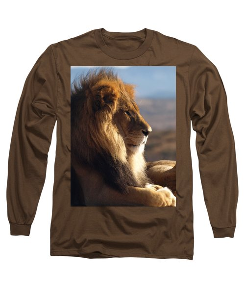 African Lion Long Sleeve T-Shirt by James Peterson