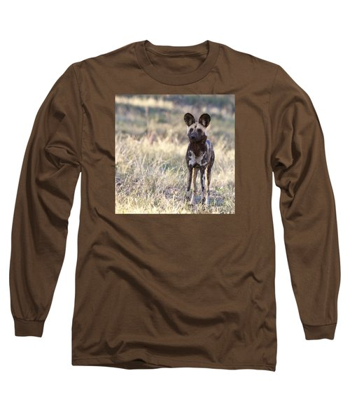 African Wild Dog  Lycaon Pictus Long Sleeve T-Shirt by Liz Leyden