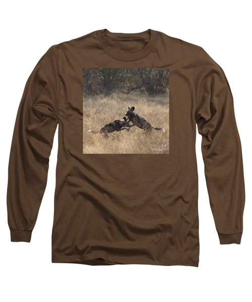 Long Sleeve T-Shirt featuring the photograph African Wild Dogs Play-fighting by Liz Leyden