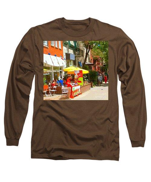 Ahys Yogourt Glace Ice Cream Stand Plateau Mont Royal Fro Yo Cafe Scenes Montreal Art Carole Spandau Long Sleeve T-Shirt