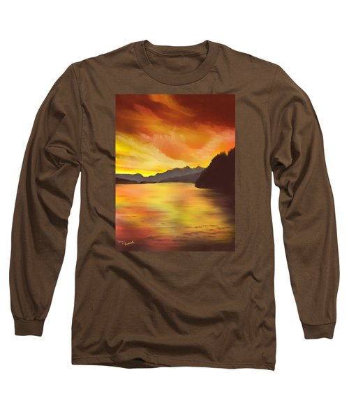 Long Sleeve T-Shirt featuring the painting Alaska Sunset by Terry Frederick