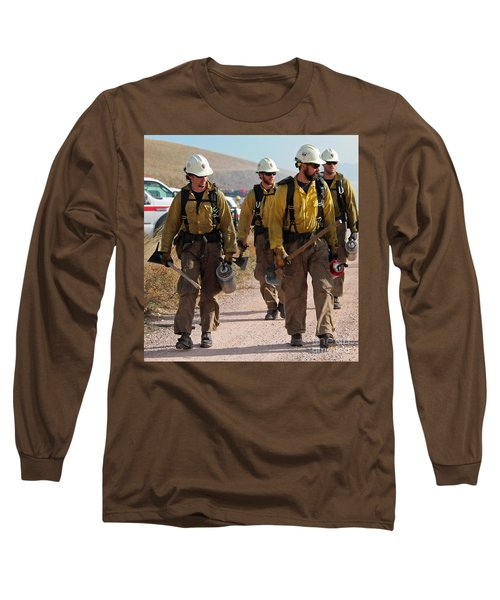 Long Sleeve T-Shirt featuring the photograph Alpine Hotshots Prepare To Ignite Cold Brook Prescribed Fire by Bill Gabbert