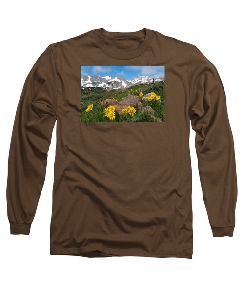 Alpine Sunflower Mountain Landscape Long Sleeve T-Shirt