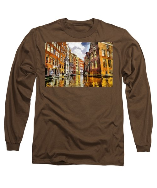 Amasterdam Houses In The Water Long Sleeve T-Shirt by Georgi Dimitrov
