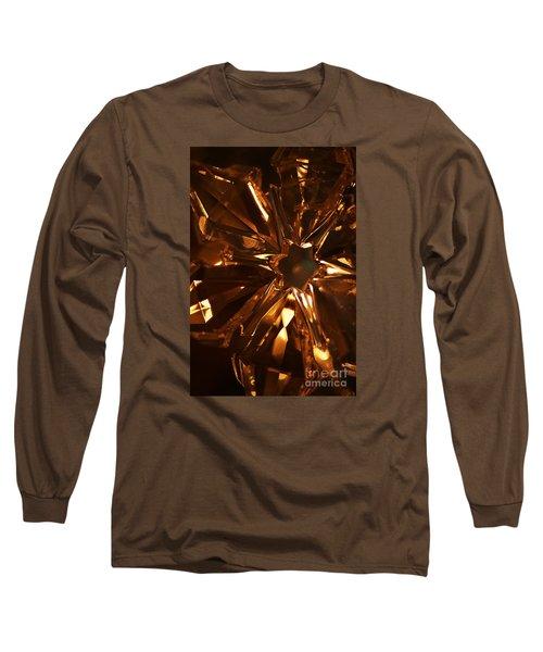 Amber Crystal Snowflake Long Sleeve T-Shirt by Linda Shafer